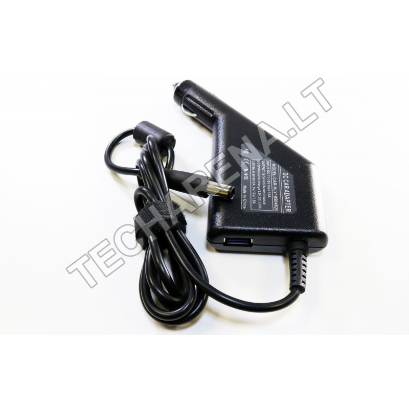 Dell 19.5v 4.62a 7.4*5.0 automobilinis įkroviklis 90w + USB
