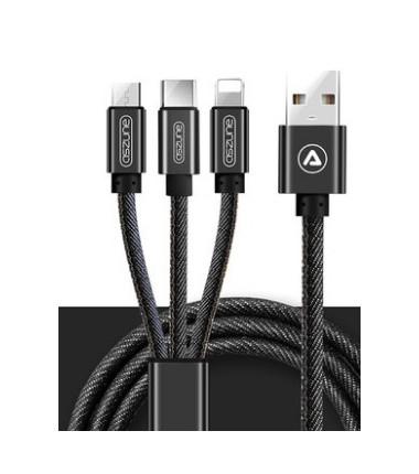 Daugiafunkcinis krovimo laidas su 3 jungtimis (micro USB, Type-C ir Lightning) 1m.,16.8, juodas