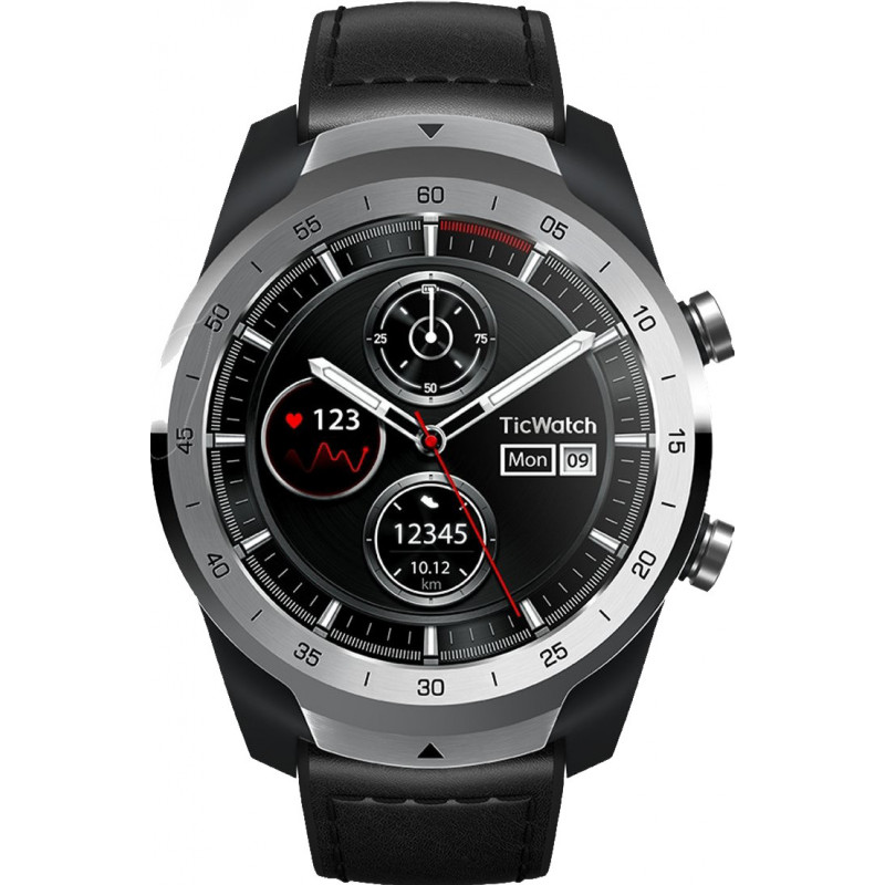 TickWatch Pro Liquid Smart watches, NFC, GPS (satellite), Touchscreen, Heart rate monitor, Activity monitoring 24/7, Waterproof,