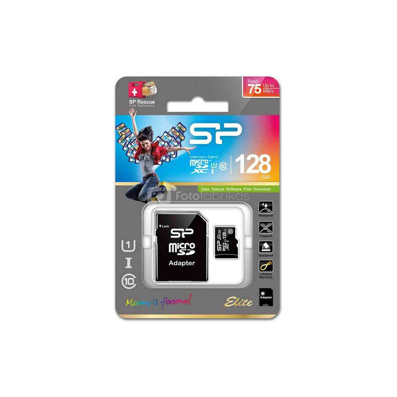SILICON POWER Micro SDXC 128GB Class 10 Elite UHS-1 atminties kortelė + adapter