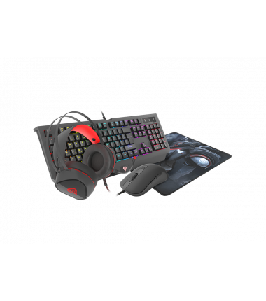 GENESIS COMBO set 4in1 cobalt 330 rgb keyboard + mouse +headphones + mousepad, us layout