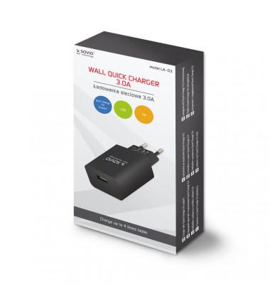 Greito krovimo - Fast Charge 3.0A usb įkroviklis, juodas
