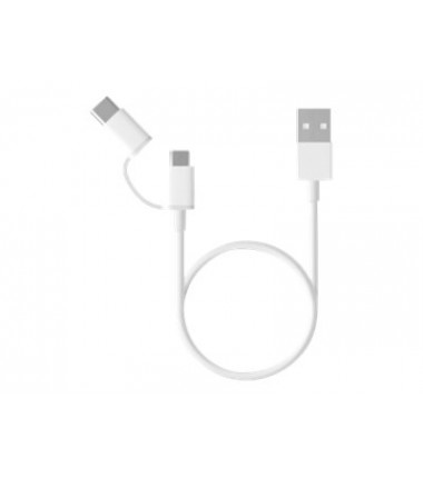 XIAOMI Mi 2-in-1 USB Cable M-USB - Typ C, laidas/ kabelis, baltas, 1m.