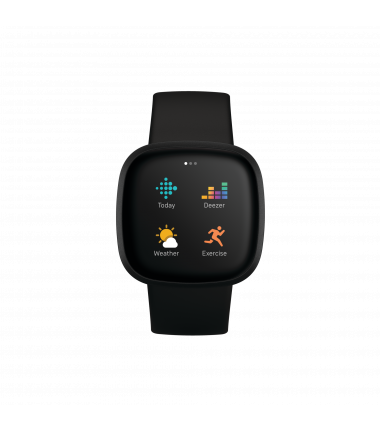 Fitbit Versa 3 Smart watch, GPS (satellite), AMOLED, Touchscreen, Heart rate monitor, Activity monitoring 24/7, Waterproof, Blue