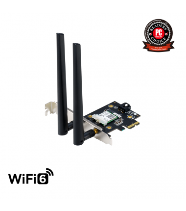 ASUS  PCE-AX3000  (802.11ax) AX3000 Dual-Band PCIe Wi-Fi 6 Asus 2 external antennas Bluetooth 5.0, WPA3 network security, OFDMA