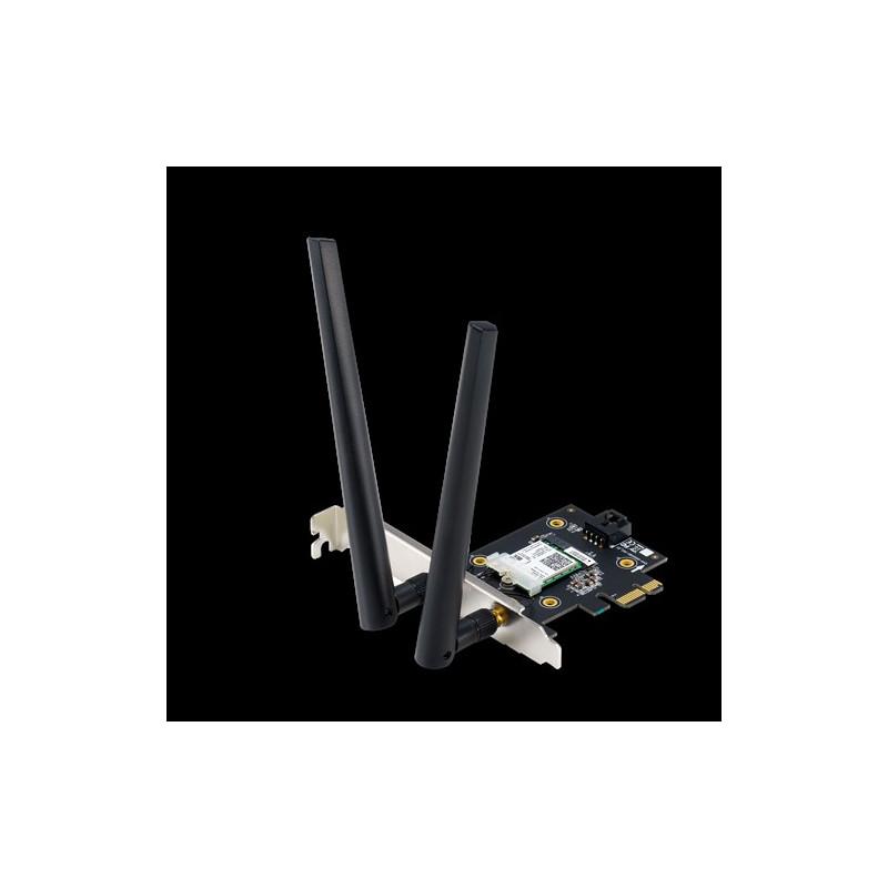 ASUS  PCE-AX3000  (802.11ax) AX3000 Dual-Band PCIe Wi-Fi 6 Asus 2 external antennas Bluetooth 5.0, WPA3 network security, OFDMA