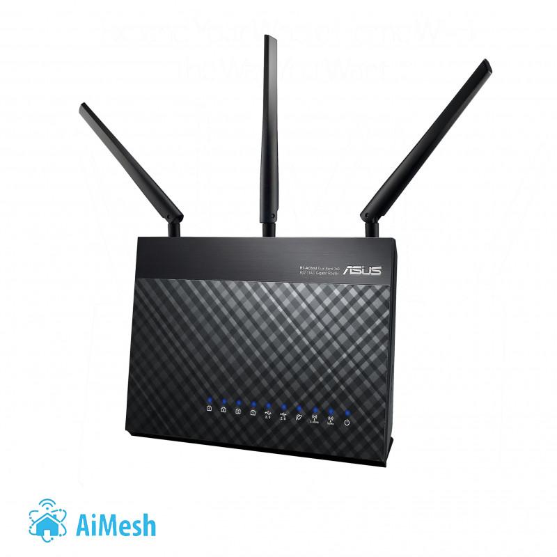 Asus Router RT-AC68U 802.11ac, 600+1300 Mbit/s, 10/100/1000 Mbit/s, Ethernet LAN (RJ-45) ports 4, Mesh Support Yes, 3G/4G via op