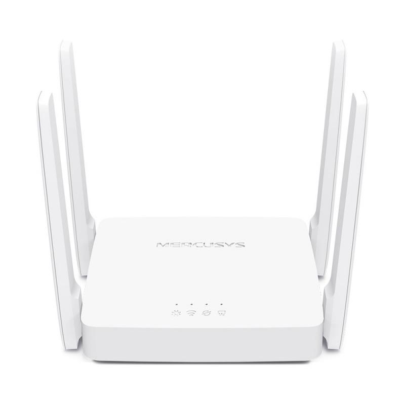 Mercusys Dual-Band Router AC10 802.11ac, 300+867 Mbit/s, 10/100 Mbit/s, Ethernet LAN (RJ-45) ports 2, Antenna type 4xFixed, Whit