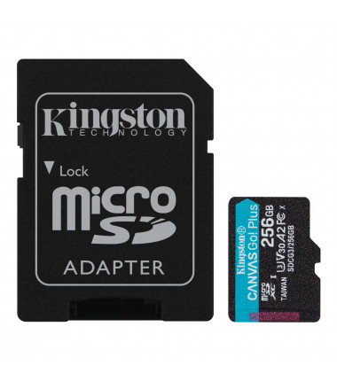 Kingston microSD Canvas Go! Plus 256 GB, MicroSD, Flash memory class 10, SD Adapter