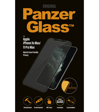PanzerGlass P2666 Apple, iPhone Xs Max/11 Pro Max, Tempered glass, Black, Case friendly with Privacy filter