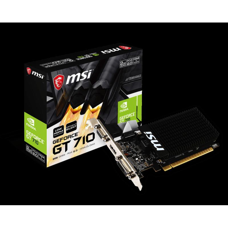 MSI GT 710 2GD3H LP NVIDIA, 2 GB, GeForce GT 710, DDR3, PCI Express 2.0 x16 (uses x8), HDMI ports quantity 1, Memory clock speed