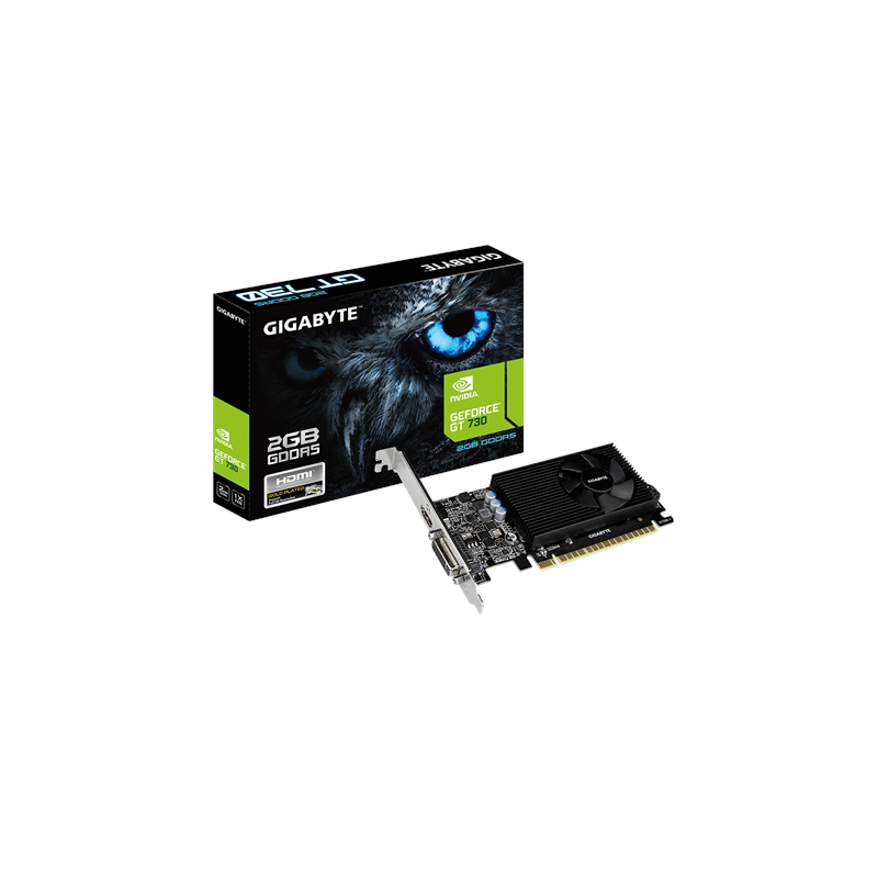 Gigabyte NVIDIA, 2 GB, GeForce GT 730, GDDR5, Processor frequency 902 MHz, Memory clock speed 5000 MHz, PCI Express 2.0, HDMI po