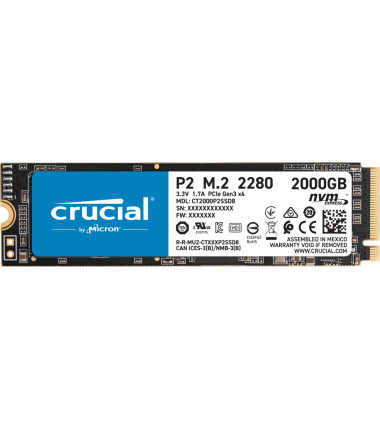 Crucial SSD P2 2000 GB, SSD form factor M.2 2280, SSD interface PCIe G3 1x4 / NVMe, Write speed 1900 MB/s, Read speed 2400 MB/s