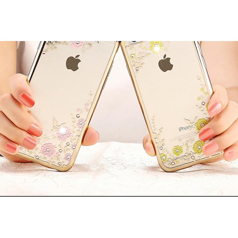 Silikoninis dėklas su gėlėmis iPhone 6s Plus