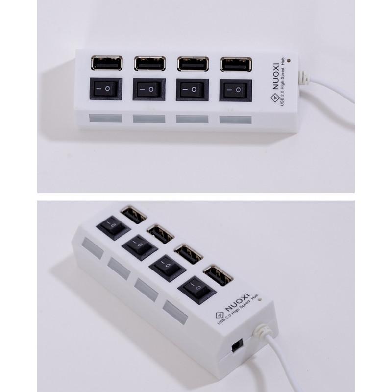 1 to 4x USB šakotuvas su jungikliais