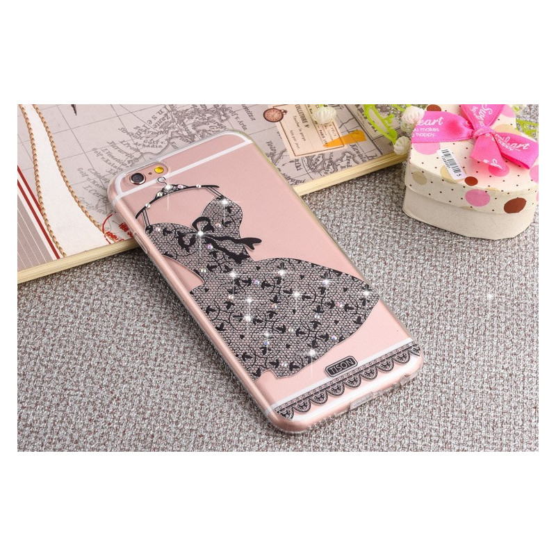 Dėklas tamsi suknelė su kristalais iPhone 6