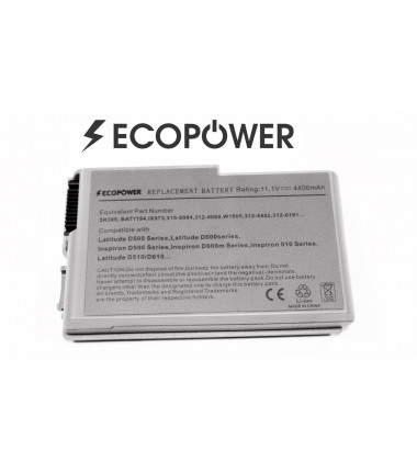 Dell C1295 Latitude D510 D520 D530 D540 D600 D610 EcoPower 6 celių 4400mah baterija