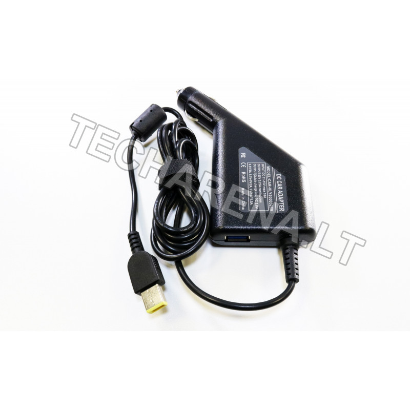 Lenovo 20v 3.25a (stačiakampis antgalis) automobilinis įkroviklis 65w + USB