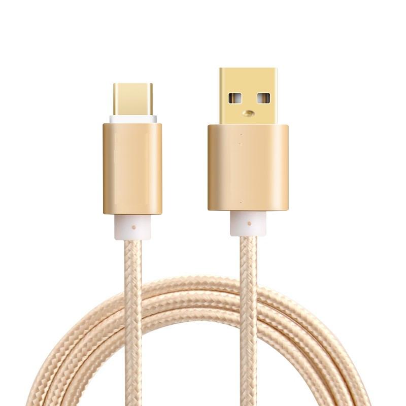 Auksinis 2m Micro USB Type C laidas