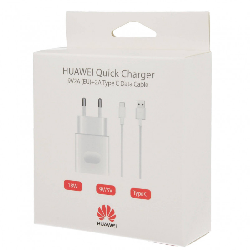 HUAWEI Quick Charger 9v 2a + 2A Type C Data Cable (EU)