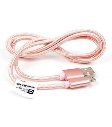 Medžiaginis rožinis 1,5m Micro USB laidas