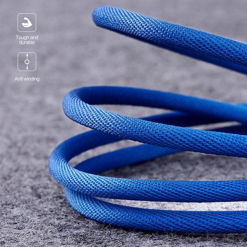 Medžiaginis mėlynas 2m Micro USB laidas