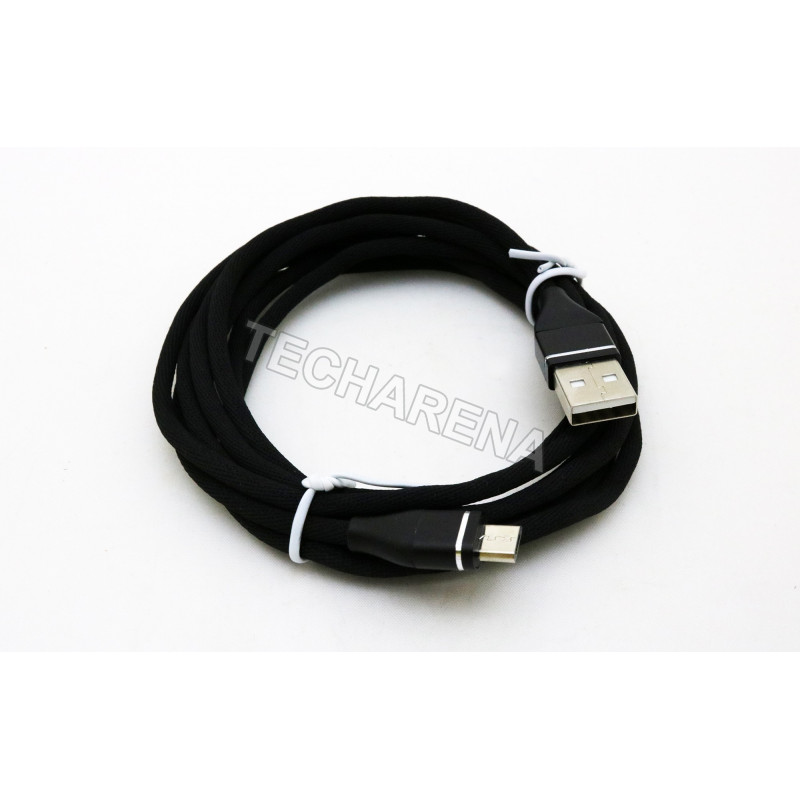 Medžiaginis juodas 2m Micro USB laidas
