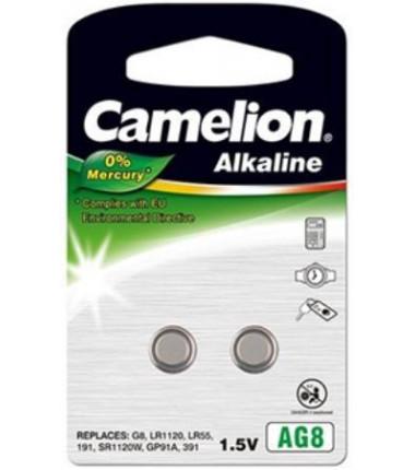 Camelion AG8/G8/LR1120/LR55/191/SR1120W/GP91A/391 1.5V Alkaline Buttoncell, 2 pc(s)