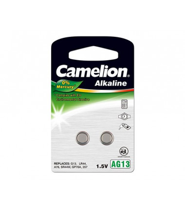 "Camelion Alkaline Button celles 1.5V (AG13) LR44/LR1154/357, 2-pack, ""no mercury"""