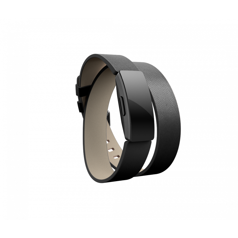 Fitbit Inspire Accessory Double Leather Wrap, one size, black