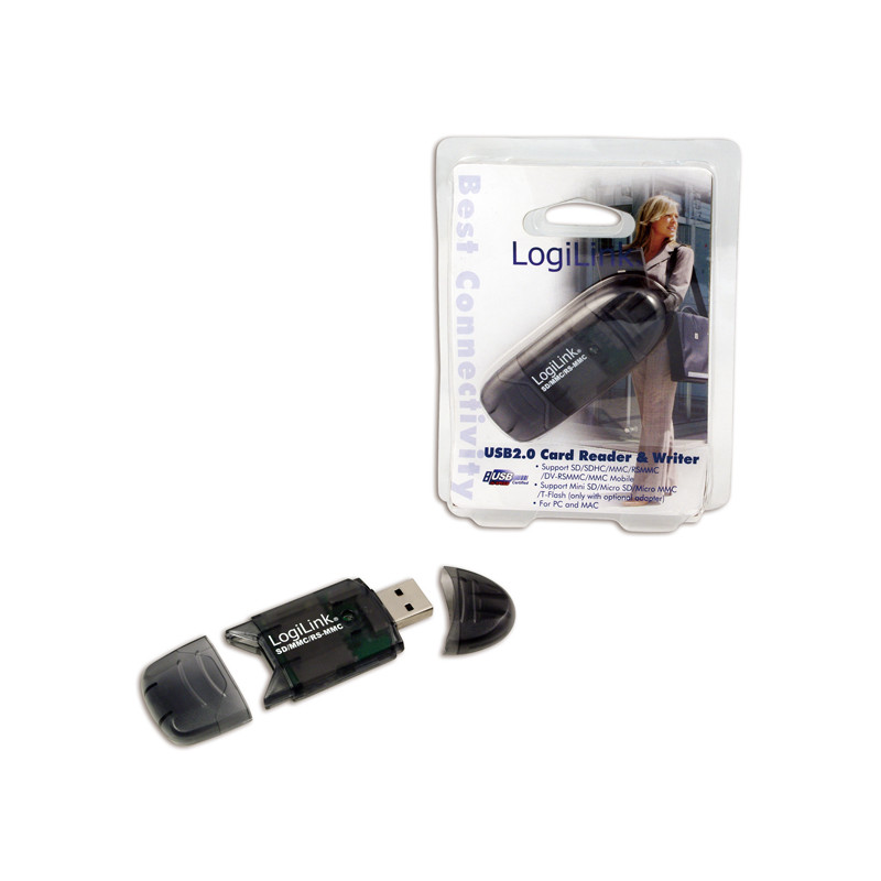 Logilink Cardreader USB 2.0 Stick external for MMC, RS-MMC, SD and SD HC, atminties kortelių skaitytuvas