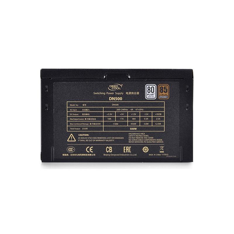 """deepcool Nova"""" series PSU  80PLUS EU,  up to +85% efficiency ,  Single +12V Rail 500 W,  on +12V: 38A,  456 W"""