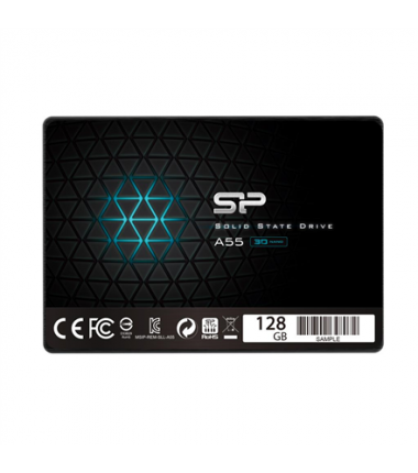 "Silicon Power A55 128 GB, SSD form factor 2.5"", SSD interface SATA, Write speed 420 MB/s, Read speed 550 MB/s"