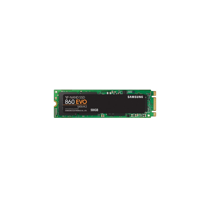 "Samsung 860 EVO MZ-N6E500BW 500 GB, SSD form factor 2.5"", SSD interface M.2 SATA, Write speed 520 MB/s, Read speed 550 MB/s"