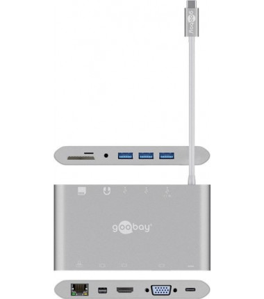 Goobay USB-C All-in-1 Multiport Adapter 62113 USB Type-C, 0.13 m, Silver